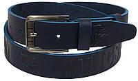 Мужской кожаный ремень под джинсы Skipper 1123-38 синий ДхШ: 125х3,8 см., фото 1