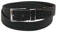 Мужской кожаный ремень под брюки Skipper 1078-35 черный ДхШ: 130х3,5 см., фото 1