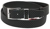 Мужской кожаный ремень под брюки Skipper 1066-35 черный ДхШ: 135х3,5 см., фото 1