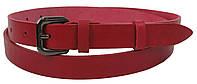 Узкий женский кожаный ремень Skipper 1321-20 красный 2 см, фото 1
