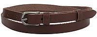 Узкий женский кожаный поясок, ремень Skipper, коричневый 1,5 см, фото 1