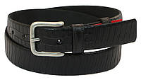 Мужской кожаный ремень под брюки Skipper 1040-35 черный ДхШ: 124х3,5 см., фото 1