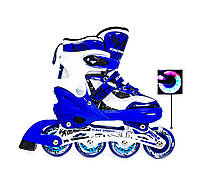 Ролики детские раздвижные (роликовые коньки) Scale Sports LF 967 Синие Размеры 29-33, 34-37,38-41