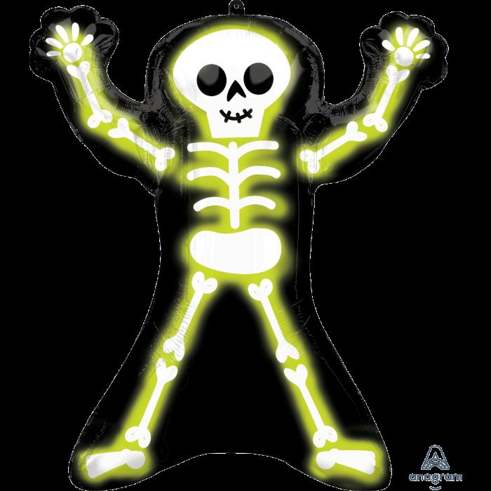 """A 30"""" Neon Skelly. Фольгированный шар фигура на Хеллоуин Неоновый скелет, В УП"""