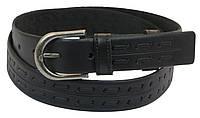 Мужской кожаный ремень под брюки Skipper 1032-33 черный ДхШ: 125х3,3 см., фото 1