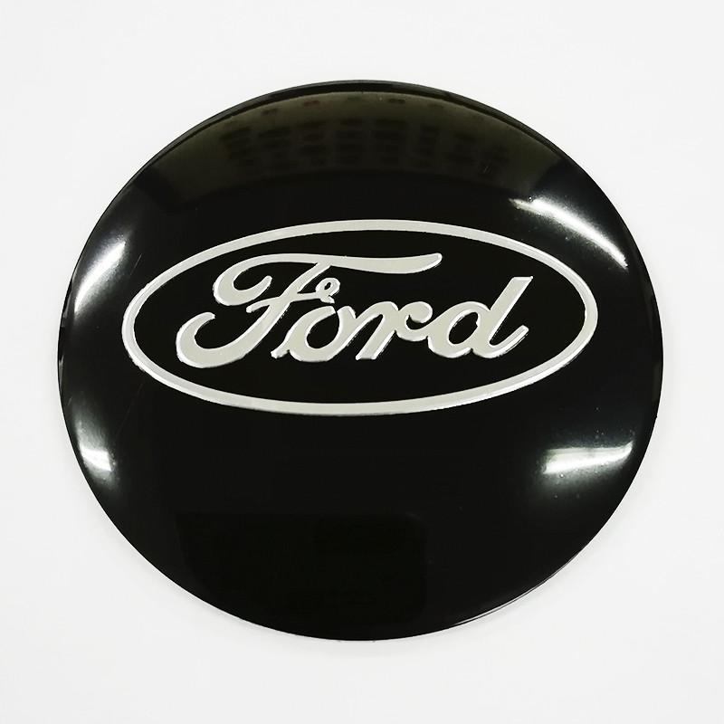 Наклейки Ford D56 мм алюміній (Сріблястий логотип на чорному тлі)