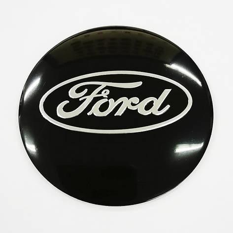 Наклейки Ford D56 мм алюміній (Сріблястий логотип на чорному тлі), фото 2