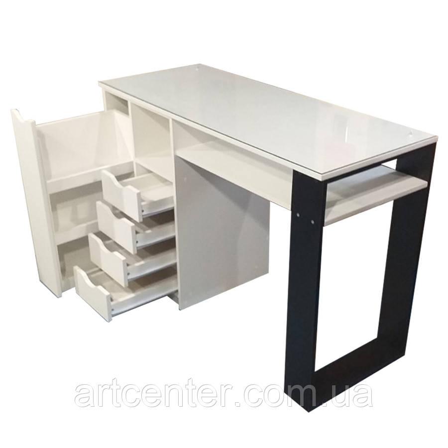 Стол для маникюра с ящиком каргор, 4 выдвижными ящиками и опорой черного цвета