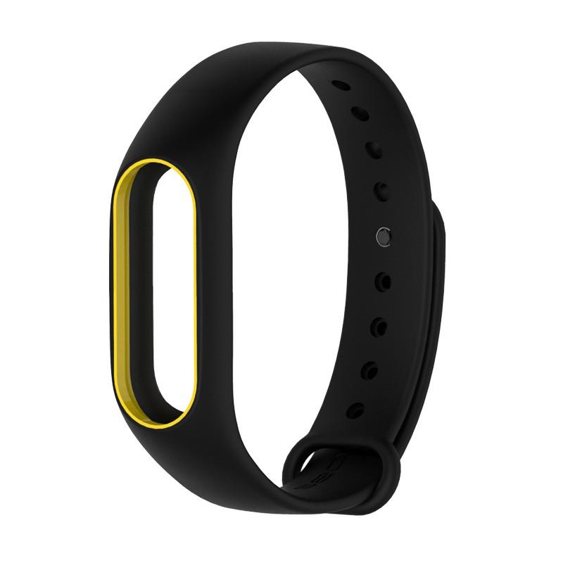 Ремешок для фитнес-браслета Xiaomi Mi Band 2 Black with yellow