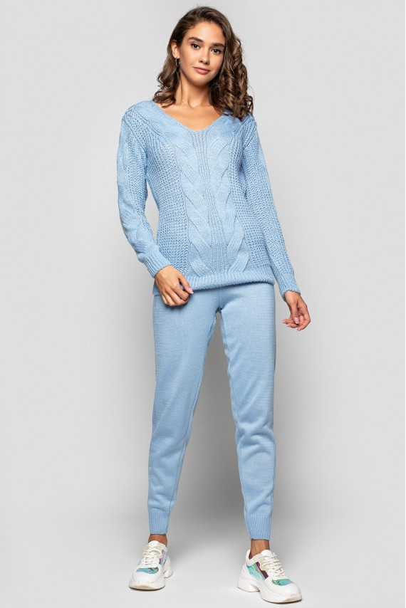 Вязаный костюм «Николь» - Голубой