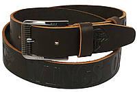 Мужской кожаный ремень под джинсы Skipper 1106-38 коричневый ДхШ: 116х3,8 см., фото 1