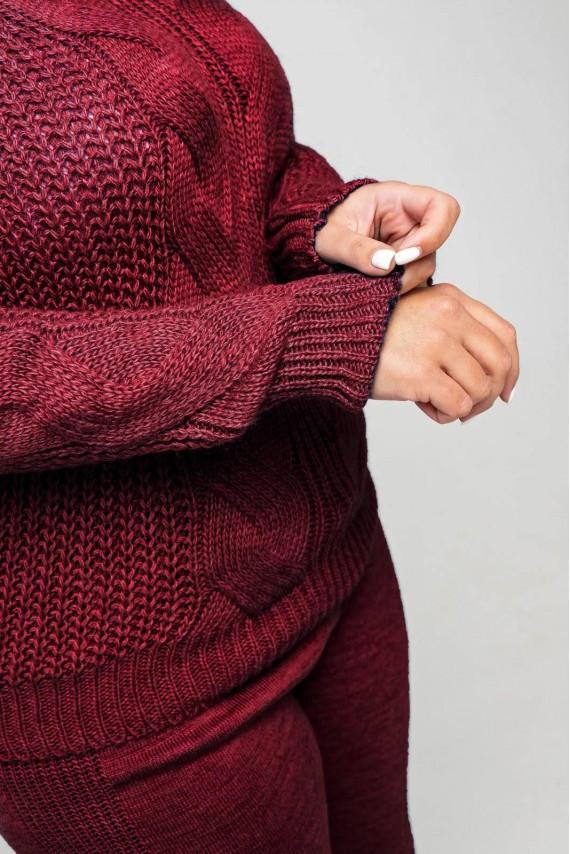 Вязаный костюм «Николь» - бордо - Size+