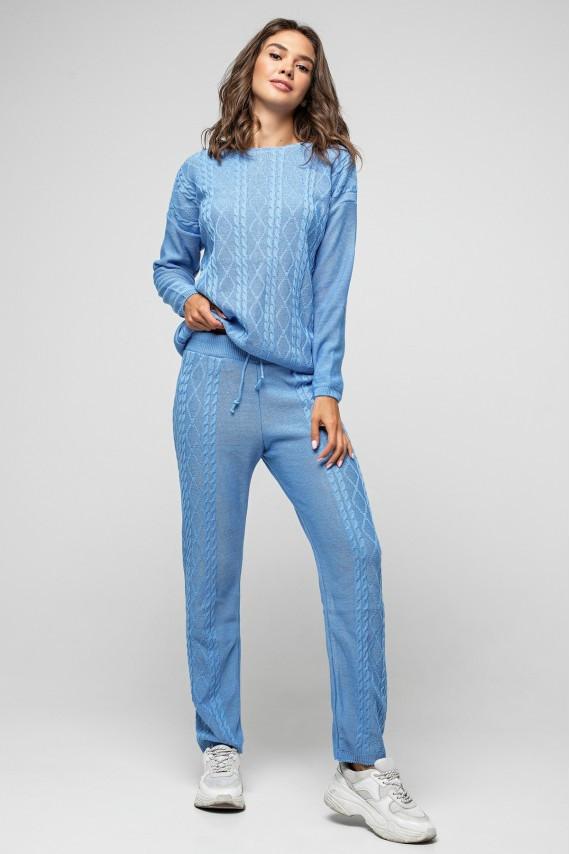 """Вязаный костюм """"Лилия"""" -  Голубой"""