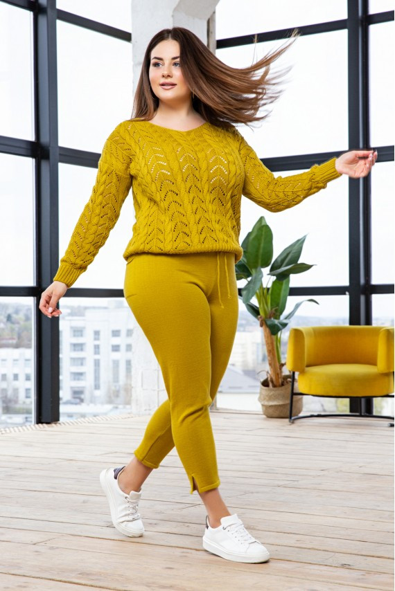 "Вязаный костюм ""Виктория""- горчица - Size+"