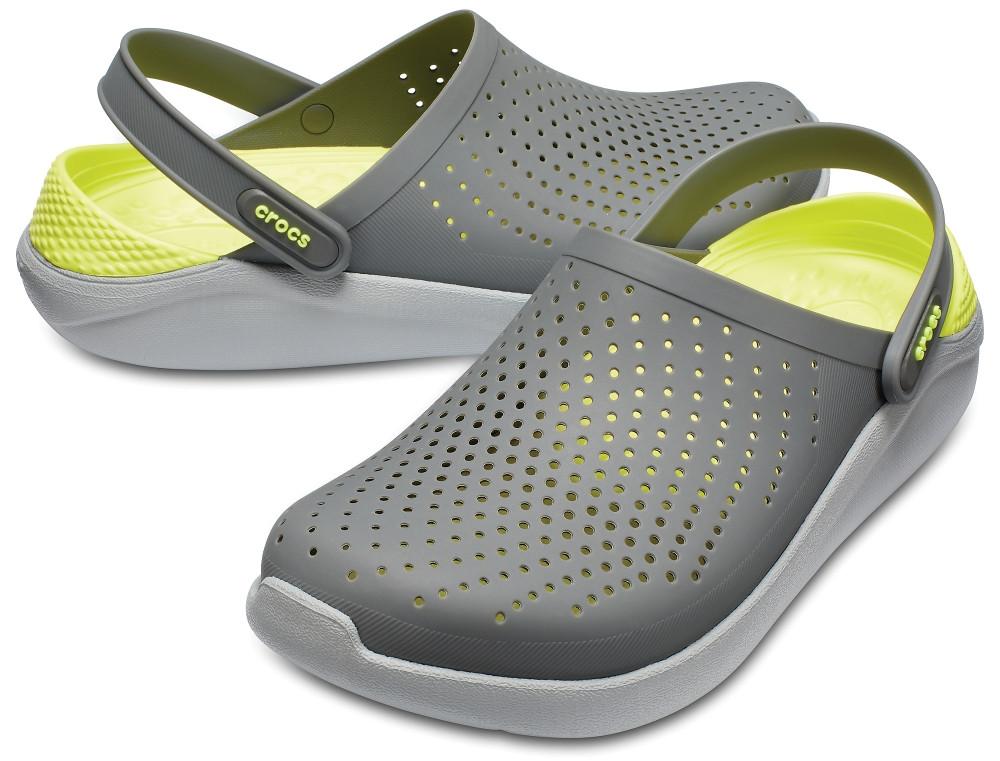 Мужские кроксы Crocs LiteRide™ Clog серо-салатовые 42 р.