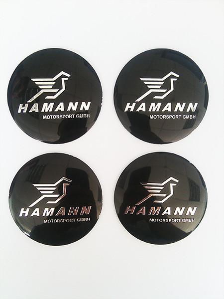 Наклейки Hamann D56 мм алюминий (Хромированный логотип на черном фоне)