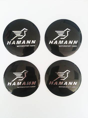 Наклейки Hamann D56 мм алюминий (Хромированный логотип на черном фоне), фото 2