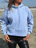 Теплый женский свитшот оверсайз на флисе, фото 1
