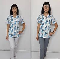 Женский медицинский костюм принт Голубые слоники короткий рукав, фото 1