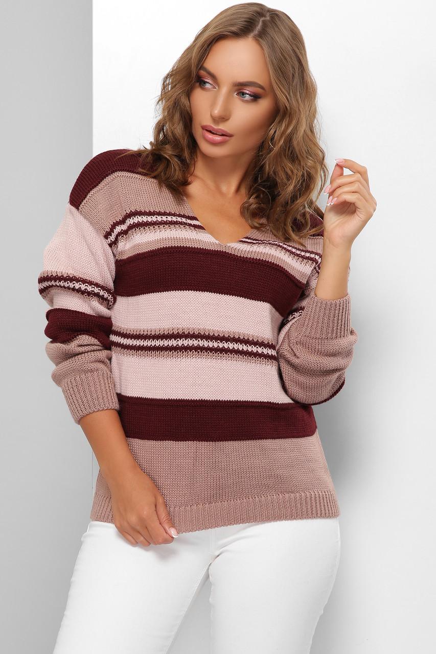 Модный женский шерстяной свитер  в полоску Марсала 44-50 размер