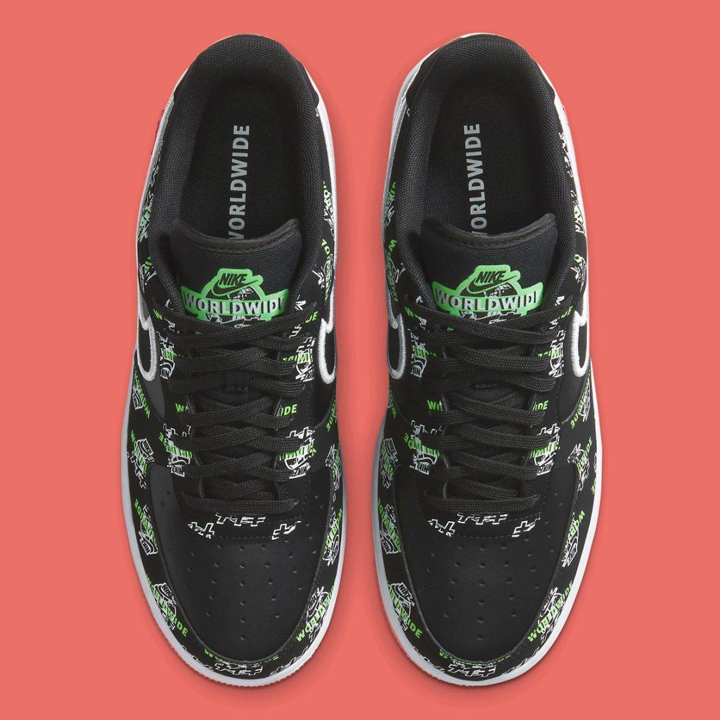 Кроссовки женские Nike Air Force 1 Low Worldwideв стиле Найк Форсы Черные (Реплика ААА+)