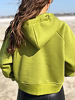 Теплый женский свитшот оверсайз на флисе Оливковый, фото 1