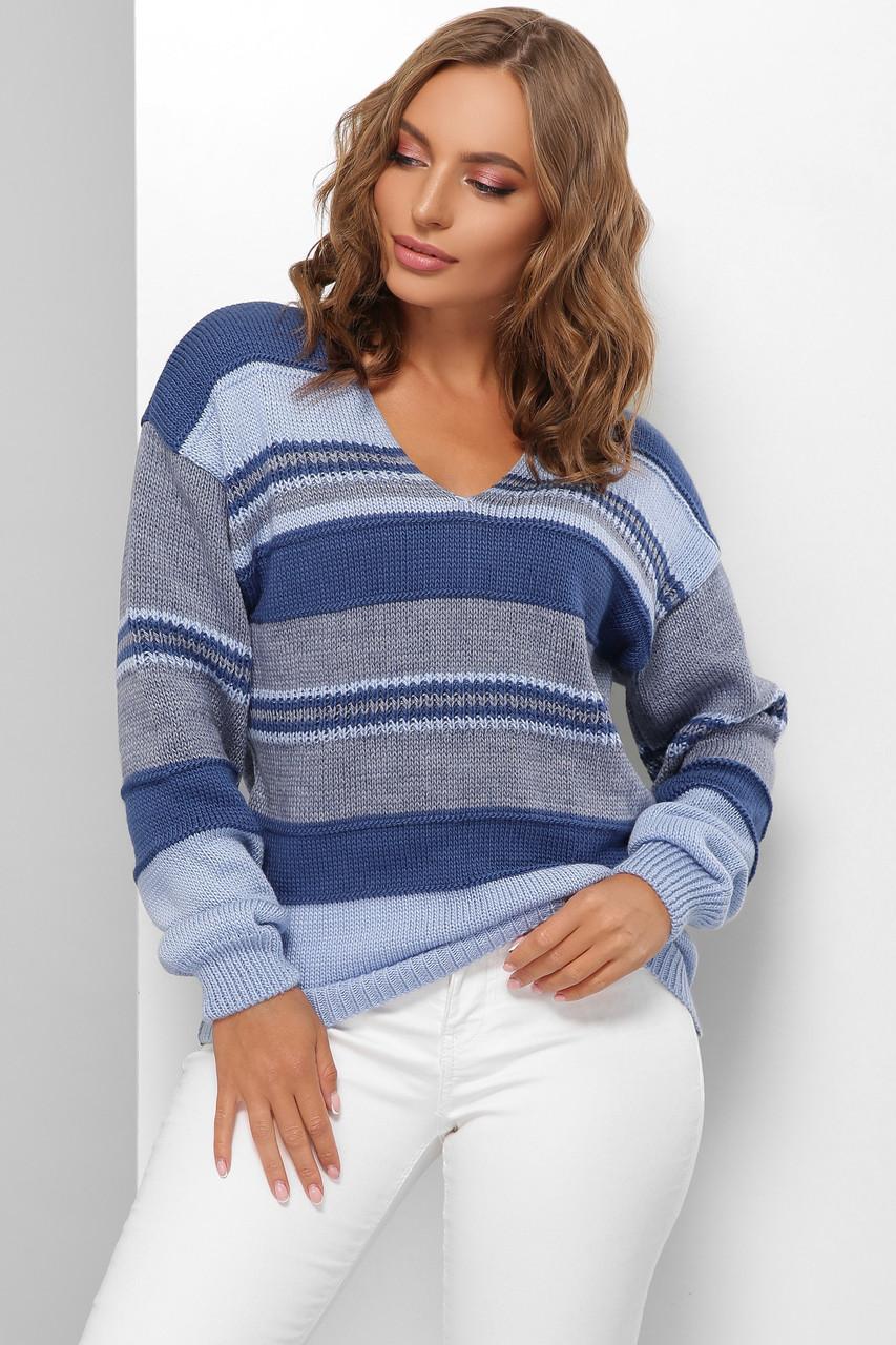 Модный женский шерстяной свитер  в полоску Синий 44-50 размер
