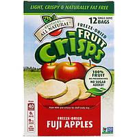 Brothers-All-Natural, Сублимированные - фруктовые чипсы, яблоки фуджи, 12 пакетиков на 1 порцию, 120 г
