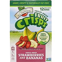 Brothers-All-Natural, Набор фруктовых чипсов, замороженные и высушенные клубника и бананы, 12 порционных пакетиков, 0.42 унций (12 г) каждый