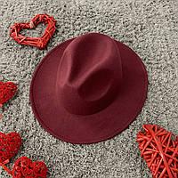 Шляпа Федора унисекс с устойчивыми полями Original бордовая (марсала)