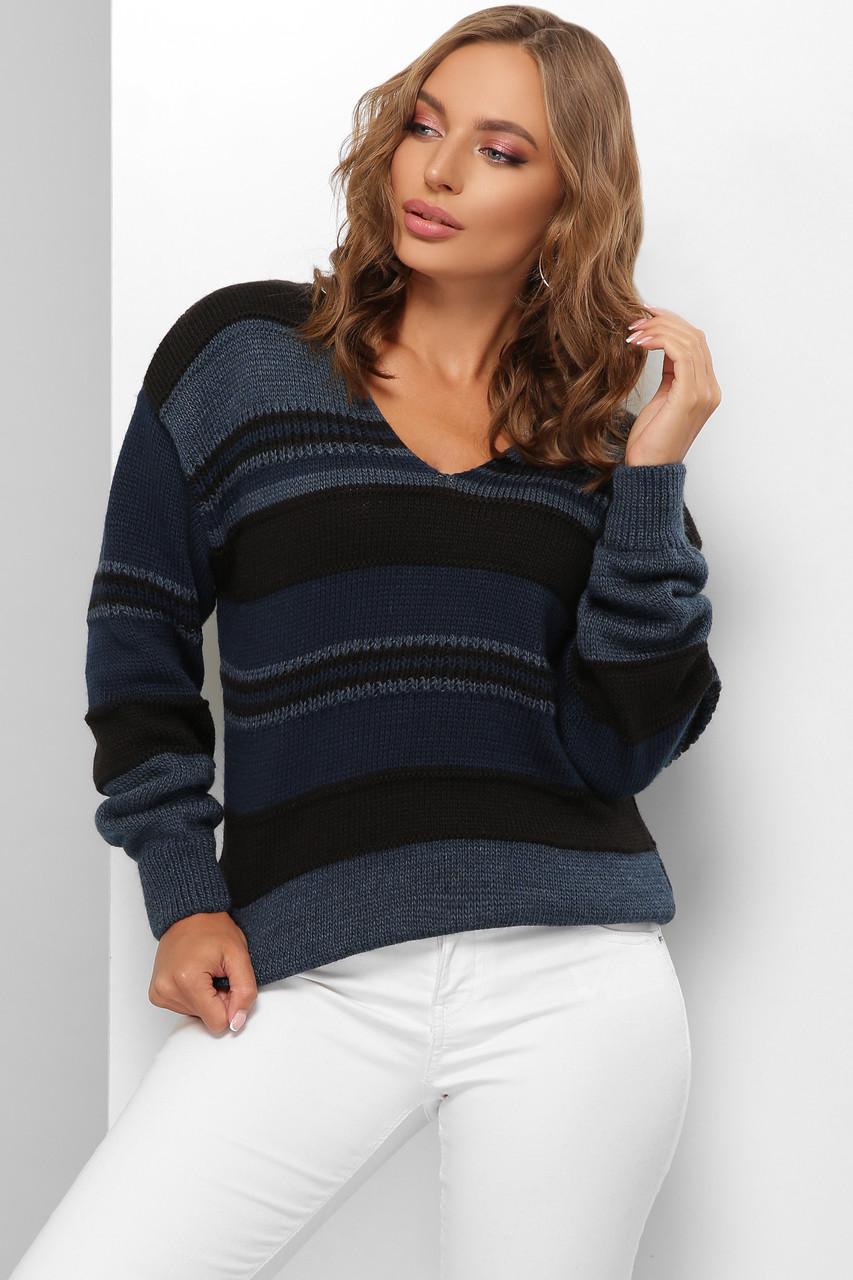 Модный женский шерстяной свитер  в полоску Черный 44-50 размер