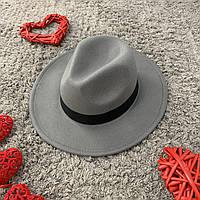 Капелюх Федора унісекс з стійкими полями і стрічкою сіра, фото 1