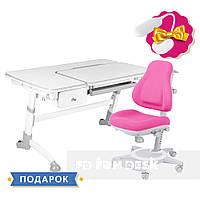 Комплект растущая парта FunDesk Amare Grey с выдвижным  ящиком + ортопедическое кресло FunDesk Bravo