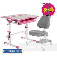 Комплект растущая парта Lavoro L Pink + подростковое кресло для дома FunDesk Ottimo Grey