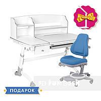 Комплект парта для дома FunDesk Amare Grey II с выдвижным ящиком+универсальное кресло FunDesk Bravo Blue