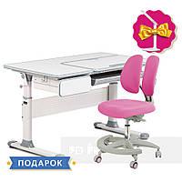Комплект парта Cubby Toru Grey + подростковое кресло для дома FunDesk Primo Pink