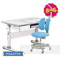 Комплект парта Cubby Toru Grey + подростковое кресло для дома FunDesk Primo Blue