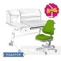 Комплект парта для дома FunDesk Amare Grey II с выдвижным ящиком+ oртопедическое кресло FunDesk Bravo Green