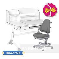 Универсальный комплект парта  FunDesk Amare Grey II + oртопедическое кресло FunDesk Bravo Grey, фото 1
