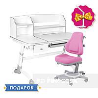 Универсальный комплект для девочки👸 парта  FunDesk Amare Grey II + oртопедическое кресло FunDesk Bravo Pink