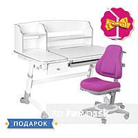 Универсальный комплект для ребенка парта  FunDesk Amare Grey II + oртопедическое кресло FunDesk Bravo Purple
