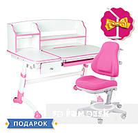 Комплект для девочки 👧 парта Amare II Pink с выдвижным ящиком + кресло FunDesk Bravo Pink
