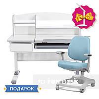 Комплект парта для школьников Cubby Grey Blue + oртопедическое кресло FunDesk Delizia Blue