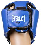 Боксерский шлем открытый тренировочный EVERLAST FLEX Для единоборств Синий (EVF450-BL) S, фото 3