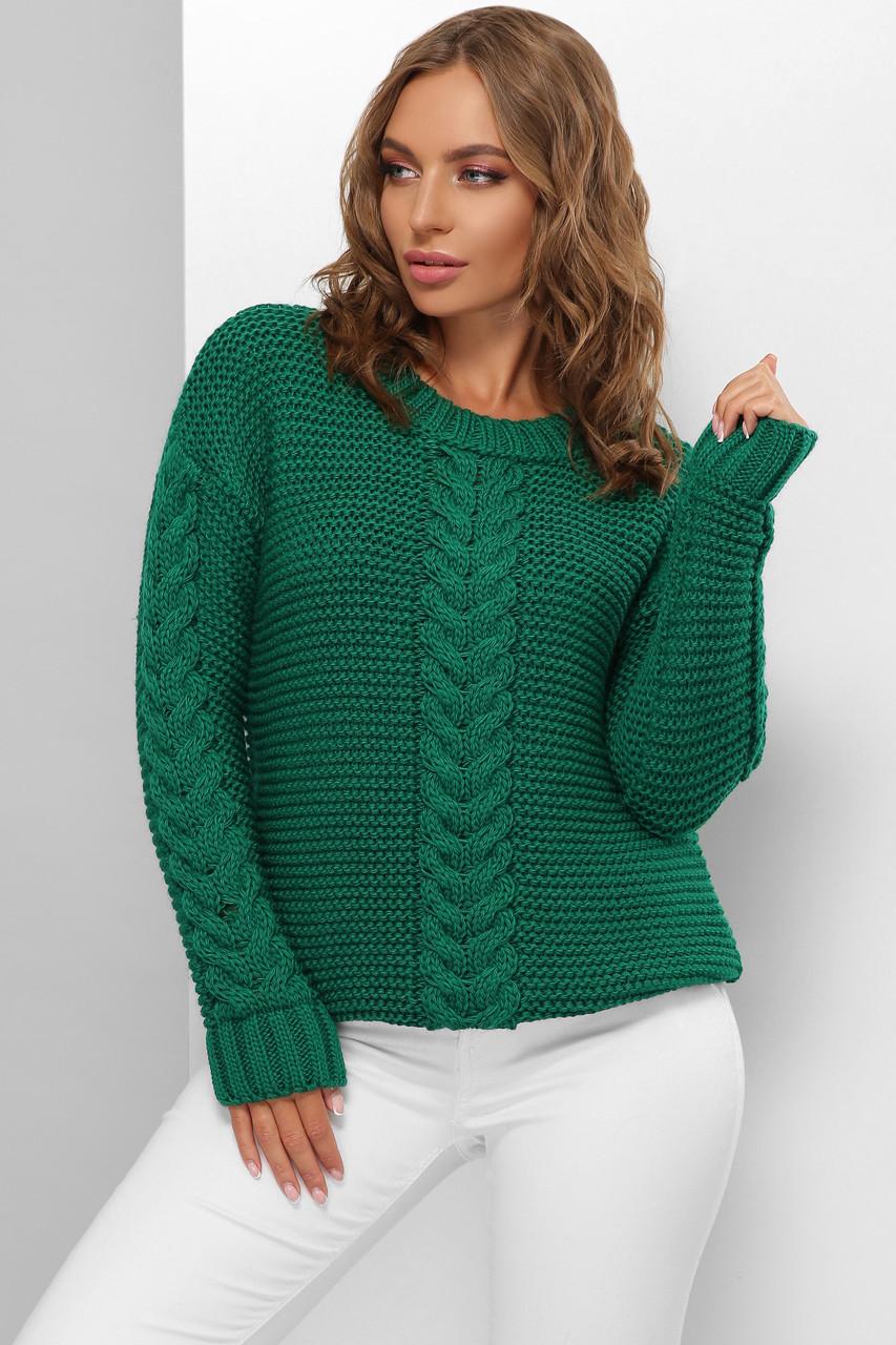 Модний жіночий светр велика в'язка Смарагд розмір 44-50