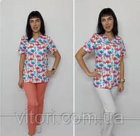 Женский медицинский костюм принт Фламинго короткий рукав