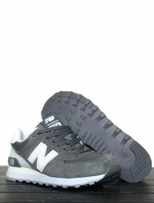 Мужские кроссовки в стиле New Bаlance 574 Серые/Белые (Реплика ААА+)