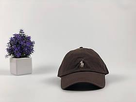 Кепка бейсболка Polo Ralph Lauren (коричневая с белым лого)
