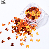 Декор для дизайна ногтей, блестки осенние листья 02