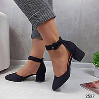 Женские туфли черные на устойчивом каблуке 37,38 размер